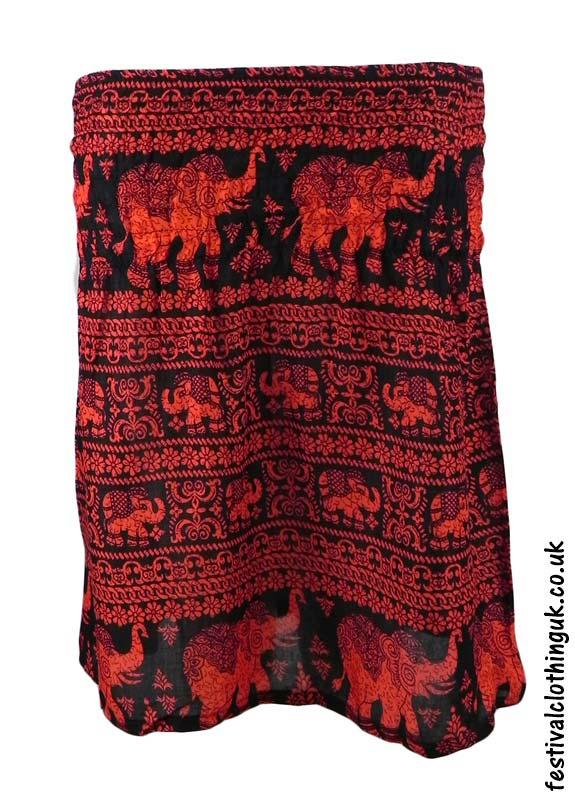 Short-Elephant-Festival-Mini-Skirt-Red